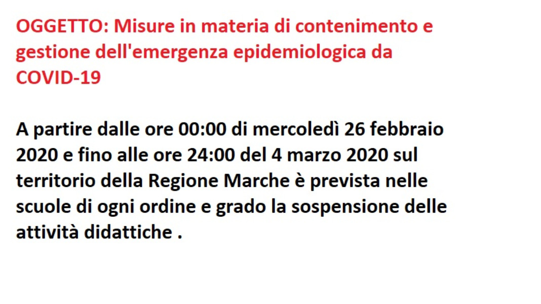 Misure in materia di contenimento e gestione dell'emergenza epidemiologica da COVID-19